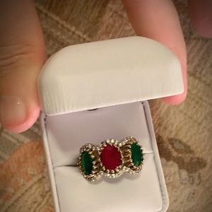 Jewelry - 3 STONE RING 10.5 Solid 925 Silver/Gold Emerald